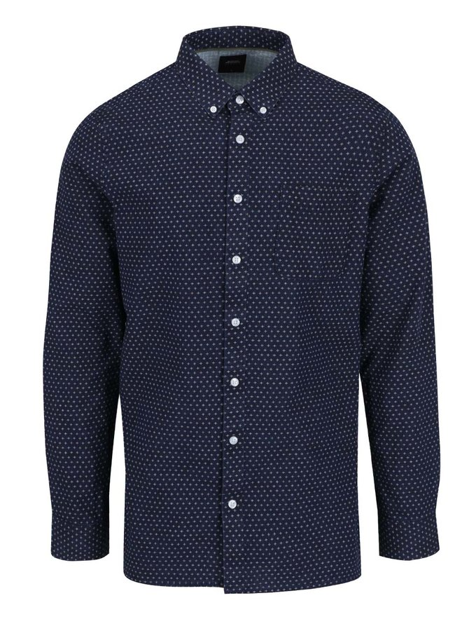 Tmavě modrá vzorovaná košile Burton Menswear London Cross