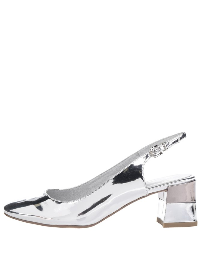 Pantofi slingback argintii Tamaris cu toc masiv