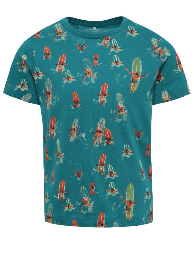 Modré klučičí tričko s tropickým potiskem name it Surf
