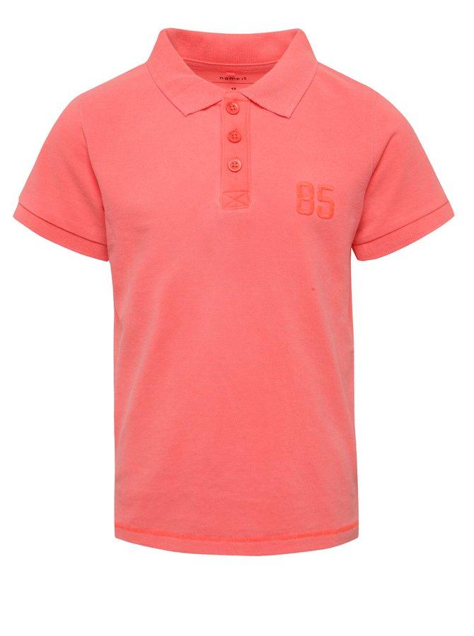 Růžové klučičí polo triko s výšivkou name it Tern