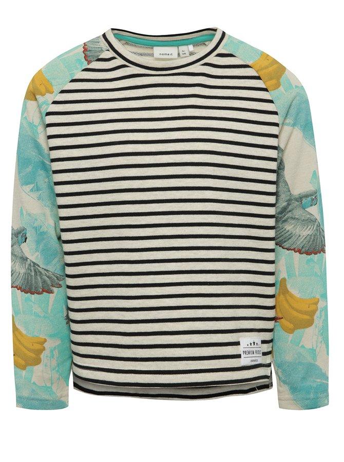 Bluză crem & albastru name it Jess cu model în dungi și print pentru fete