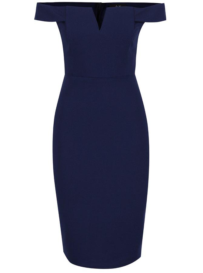 Tmavě modré pouzdrové šaty s odhalenými rameny AX Paris