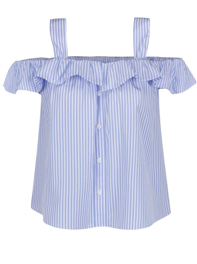 Modro-bílá pruhovaná halenka s odhalenými rameny Haily's Kayla