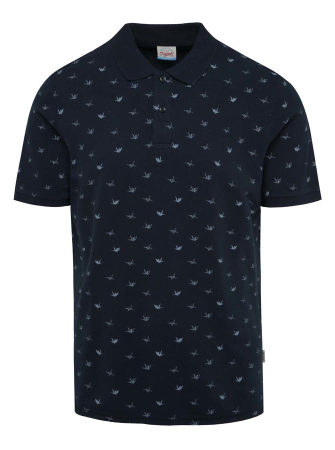 Tmavě modré vzorované polo triko Jack & Jones Rodeo