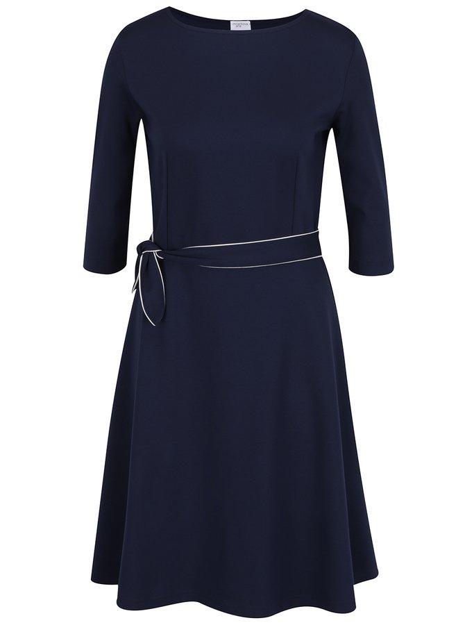 Tmavě modré šaty s mašlí Jana Minaříková
