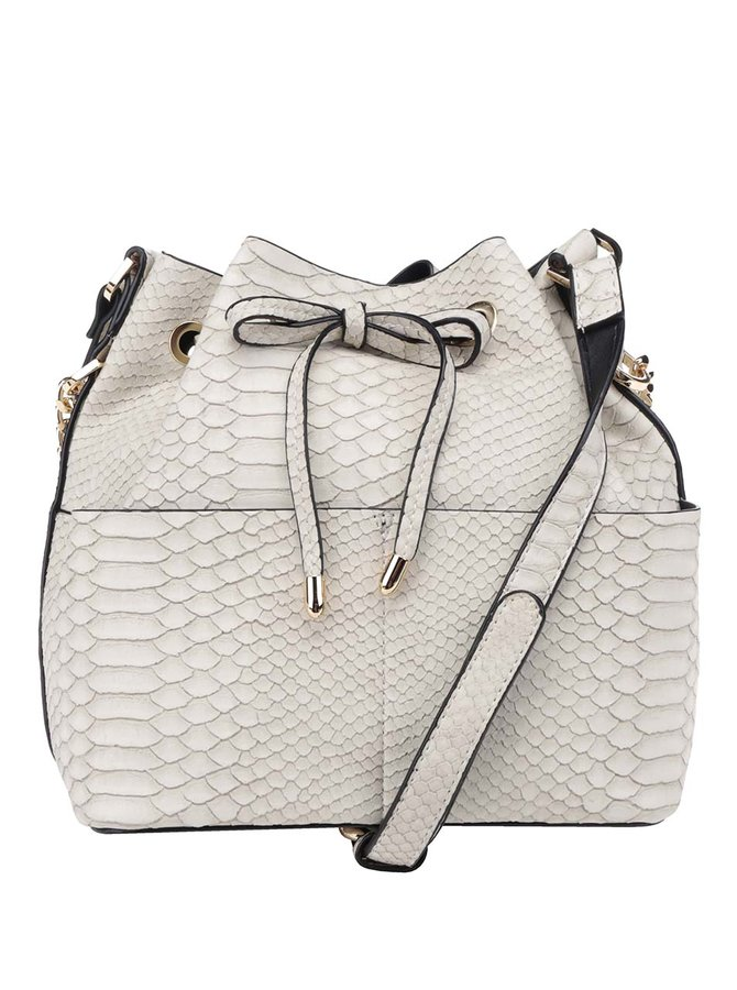 Krémová kabelka s hadím vzorem Miss Selfridge