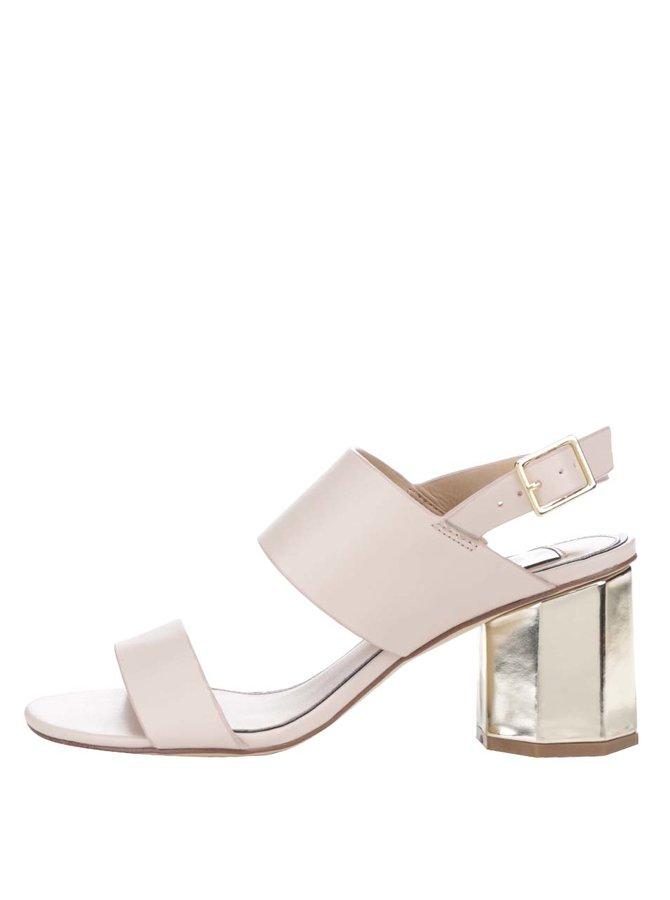 Krémové sandálky na podpatku ve zlaté barvě Miss Selfridge