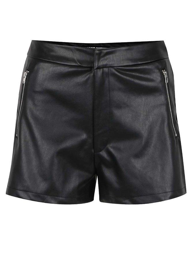 Pantaloni scurți negri TALLY WEiJL din piele sintetică