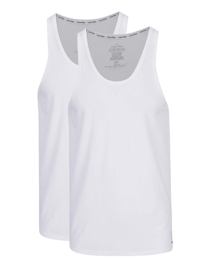 Sada dvou pánských tílek v bílé barvě Calvin Klein