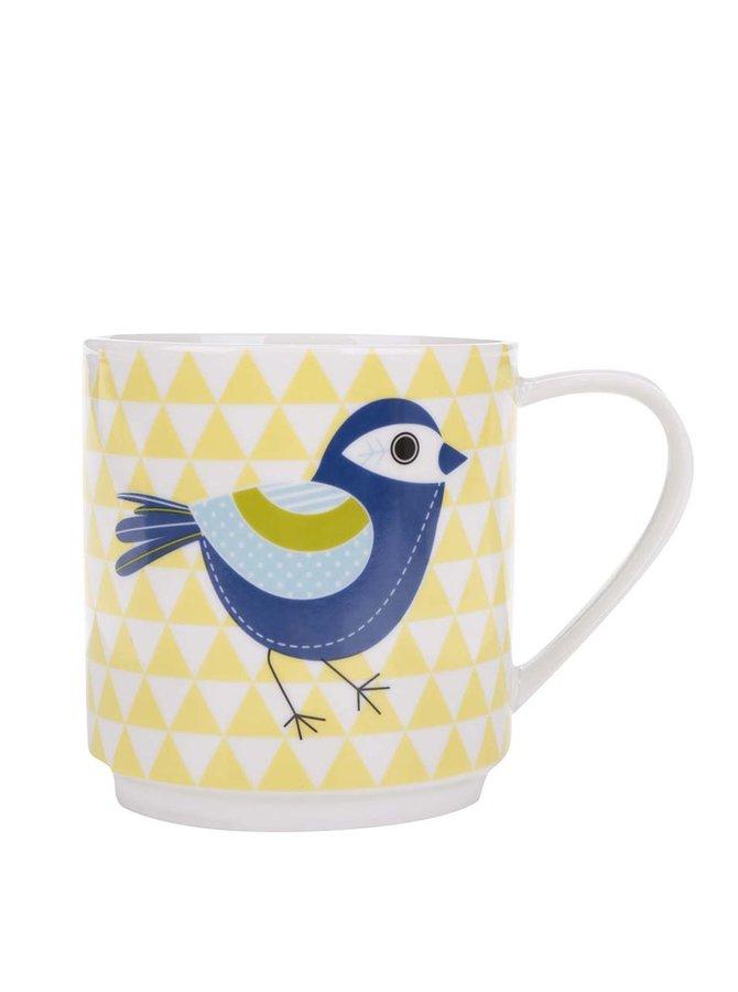 Žlutý porcelánový vzorovaný hrnek s potiskem ptáka Kitchen Craft