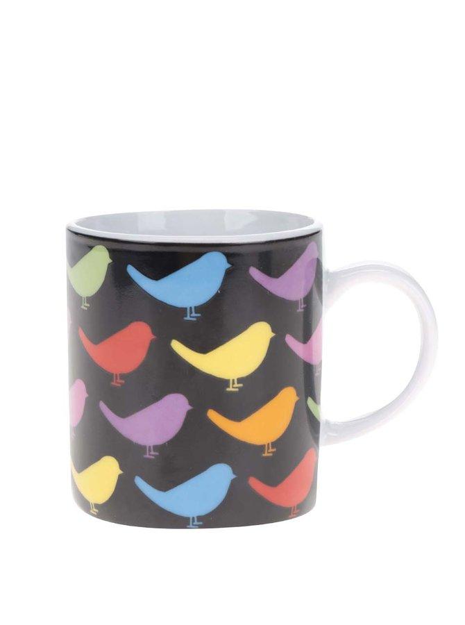 Černý porcelánový hrnek na espresso s potiskem barevných ptáků Kitchen Craft
