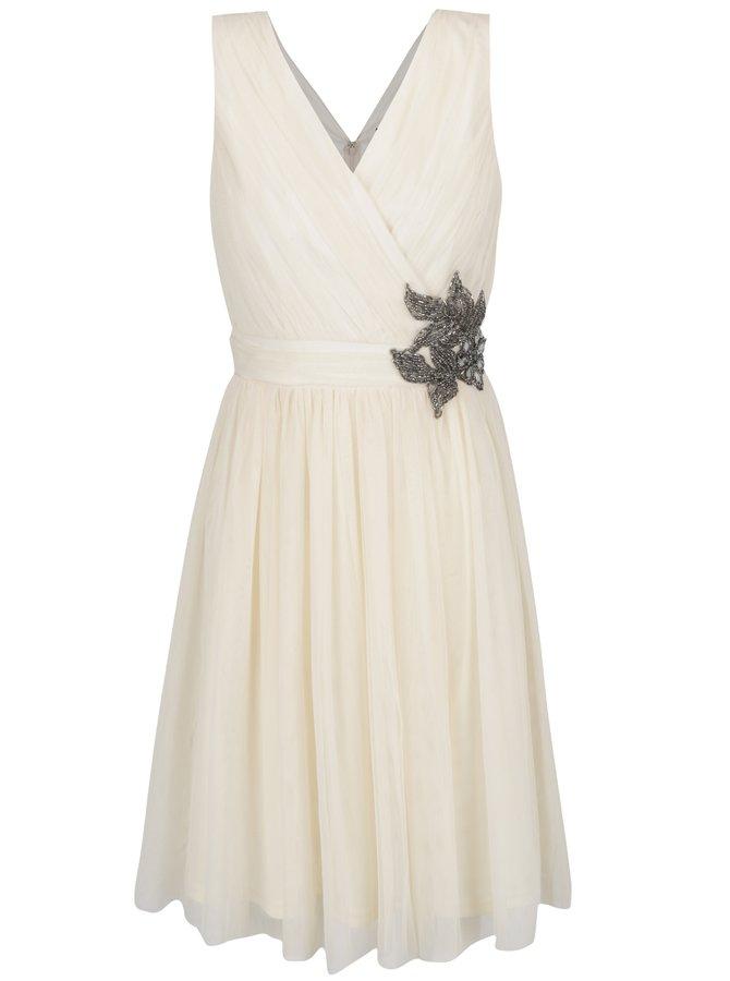 Krémové šaty s korálkovou aplikací Little Mistress