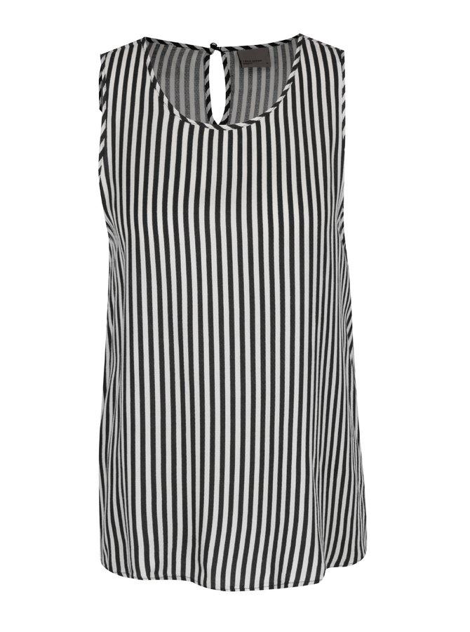 Černo-šedá pruhovaná halenka VERO MODA New Sally