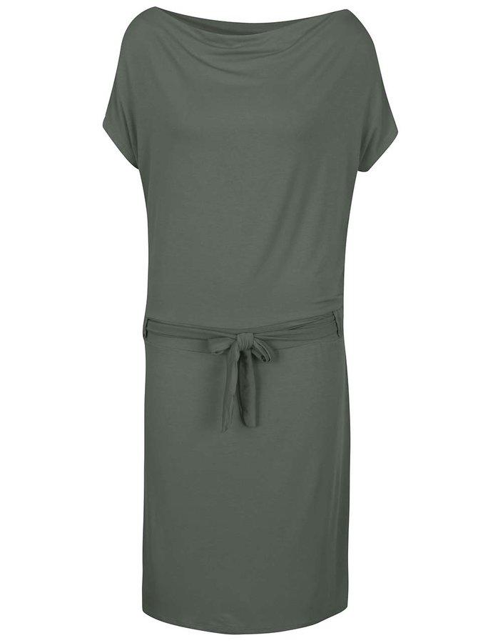 Tmavě zelené šaty s lodičkovým výstřihem ZOOT
