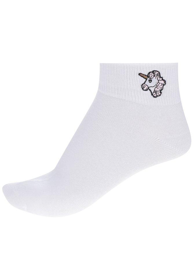Bílé kotníkové ponožky s motivem jednorožce TALLY WEiJL