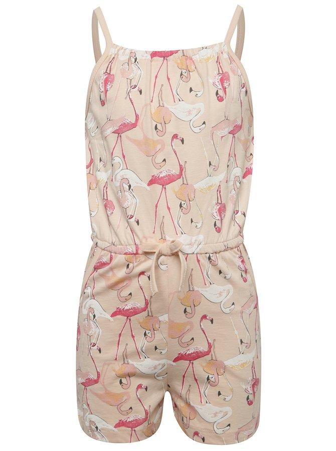 Salopetă roz cu flamingo name it Viggakira pentru fete