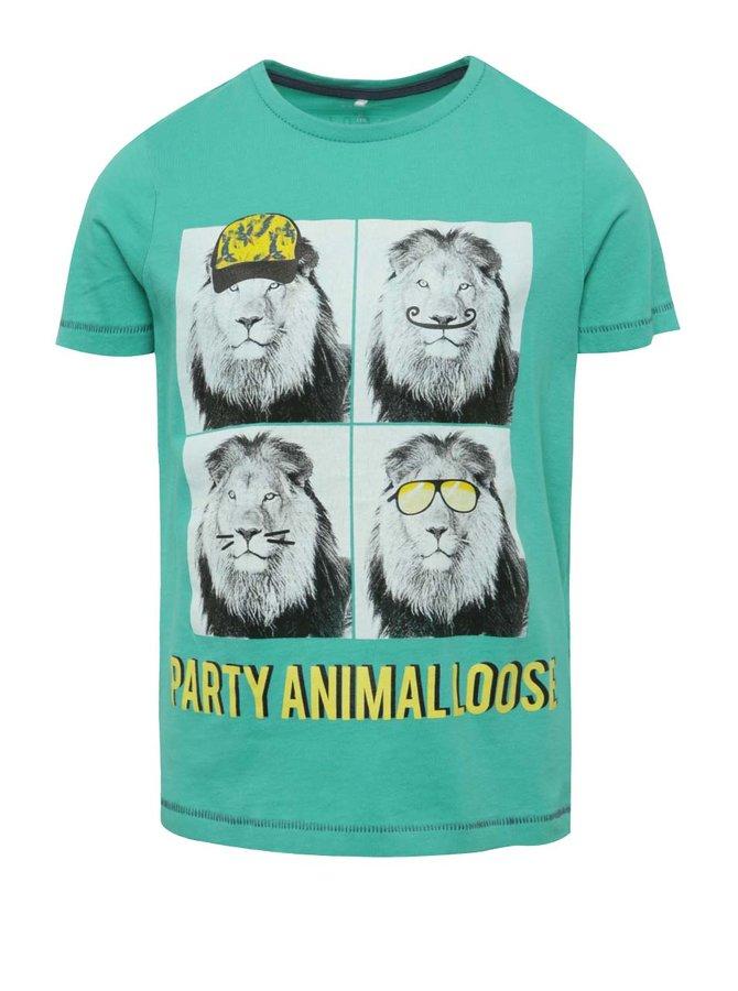 Tricou turcoaz cu imprimeu name it Julius pentru băieți