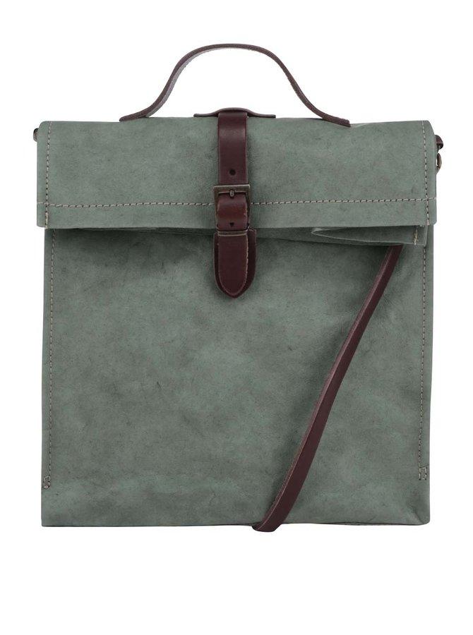 Zelená taška s koženým popruhem UASHMAMA® Lunch
