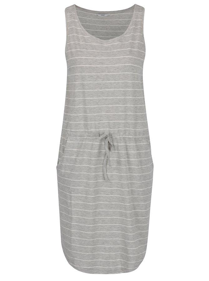 Bílo-šedé pruhované šaty s kapsami ONLY May
