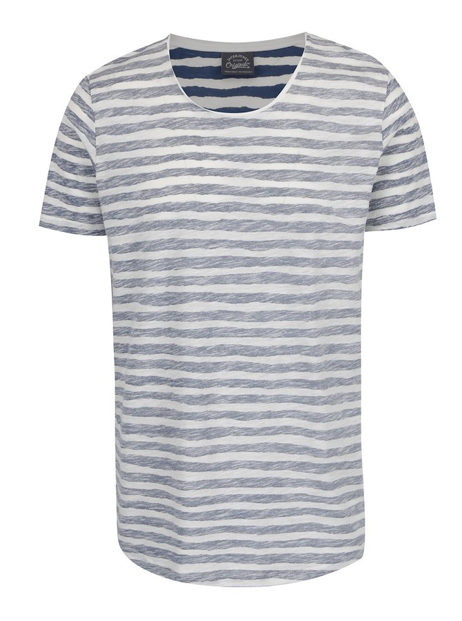 Bílo-modré pruhované žíhané triko Jack & Jones Reverse