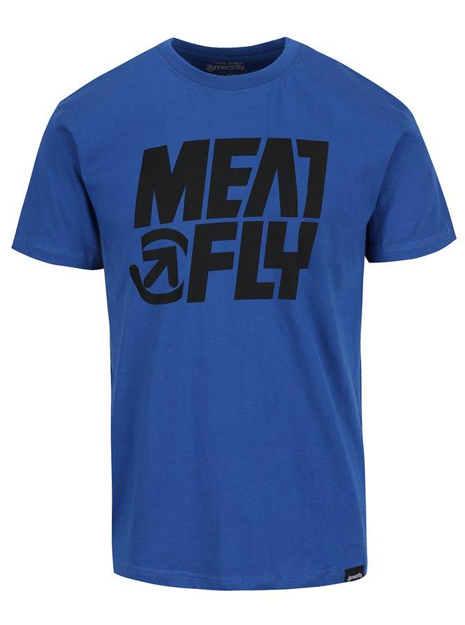 Tricou albastru cu print MEATFLY Shaper pentru bărbați