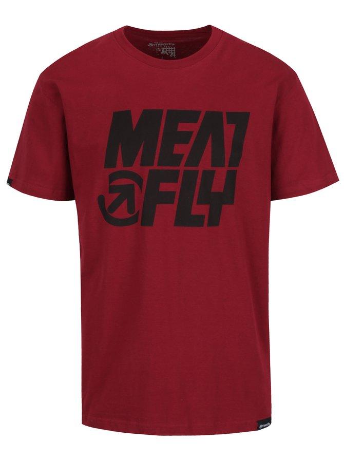 Tmavě červené pánské triko s potiskem MEATFLY Shaper