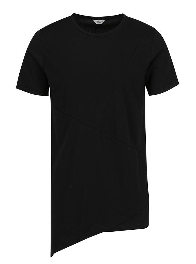 Černé asymetrické triko s detaily Jack & Jones Borja