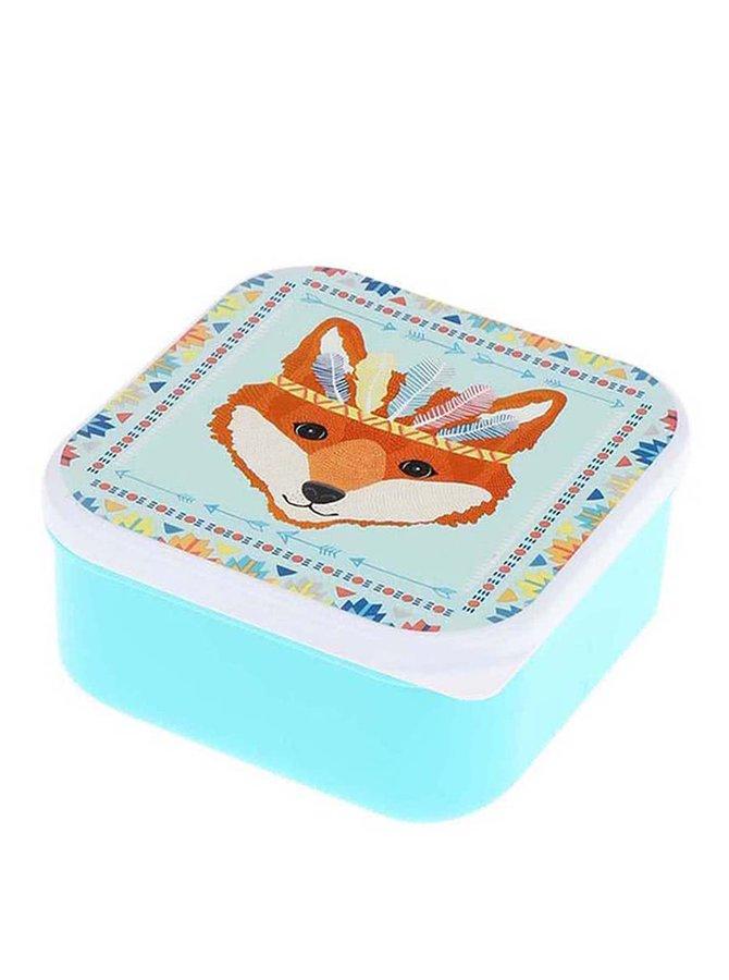Caserolă turcoaz din plastic cu print cu vulpe Sass & Belle Fox Tribal