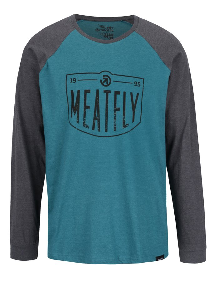 Šedo-zelené pánské triko dlouhými rukávy MEATFLY Rikker