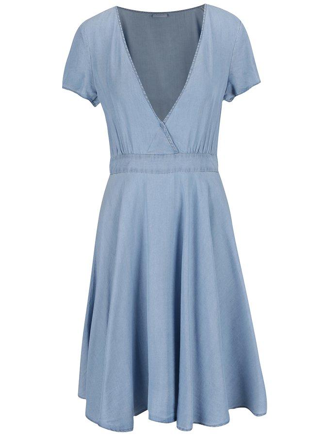 Světle modré džínové šaty s překládaným topem VILA Calan