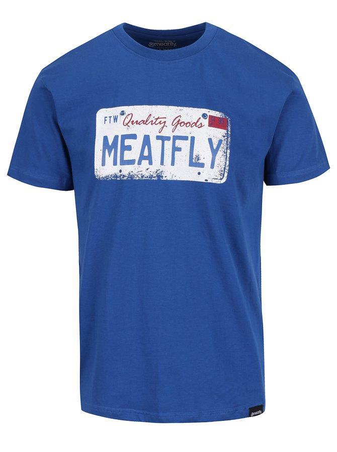 Modré pánské triko s potiskem MEATFLY Carplate