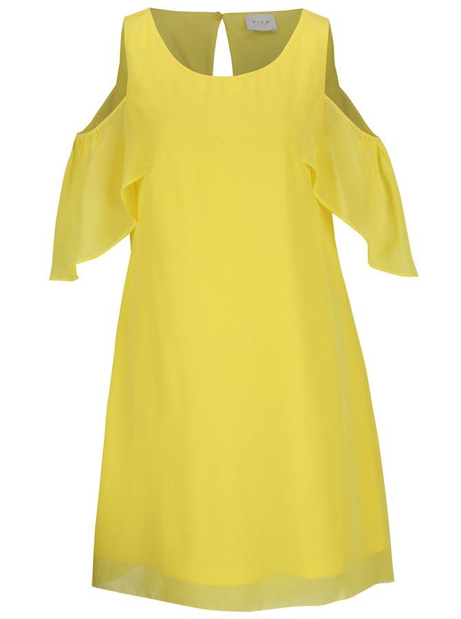Žluté volné šaty s průstřihy na ramenou a volány VILA Magile Off
