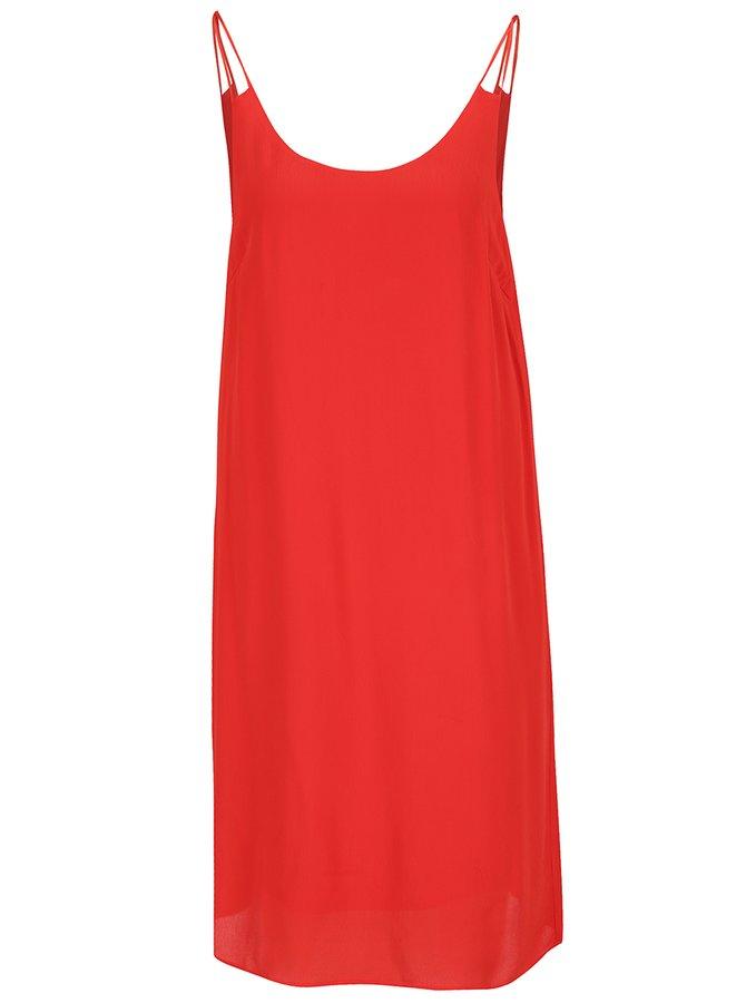 Rochie roșie VILA Loha cu bretele subțiri