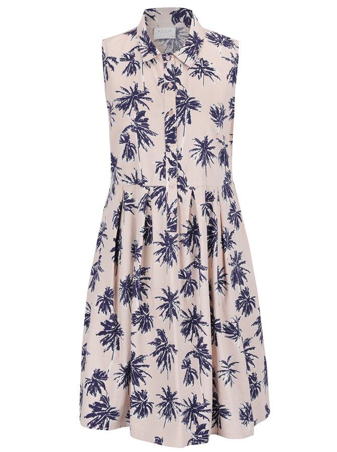 Modro-růžové vzorované šaty bez rukávů VILA Cruz