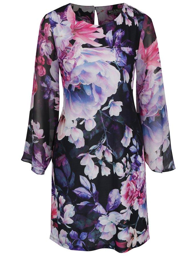 Tmavě modré květované šaty s dlouhým rukávem Billie & Blossom