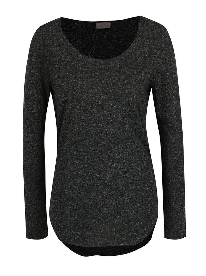 Černé žíhané tričko s dlouhým rukávem VERO MODA Lua