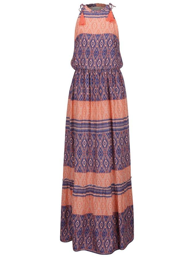 Rochie albastru&portocaliu VERO MODA Jasmine cu talie elastică