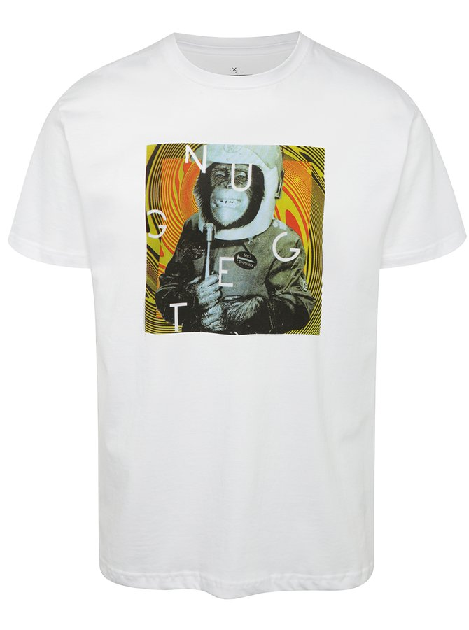 Tricou alb cu print NUGGET Looper pentru bărbați