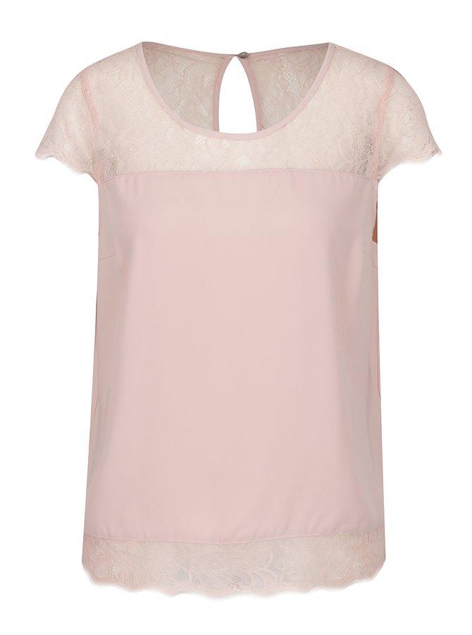 Tricou roz pal ONLY Lin cu inserții din dantelă