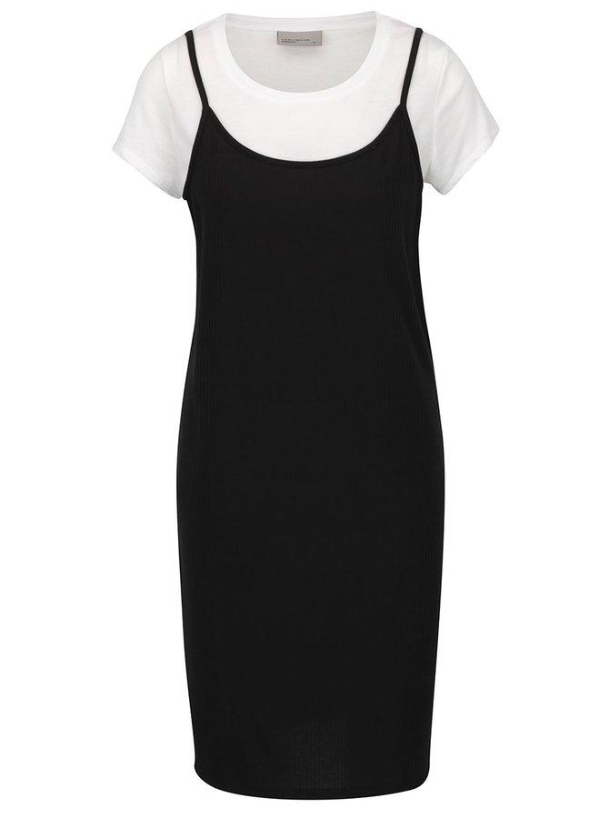 Bílo-černé šaty s všitým tričkem VERO MODA Noor
