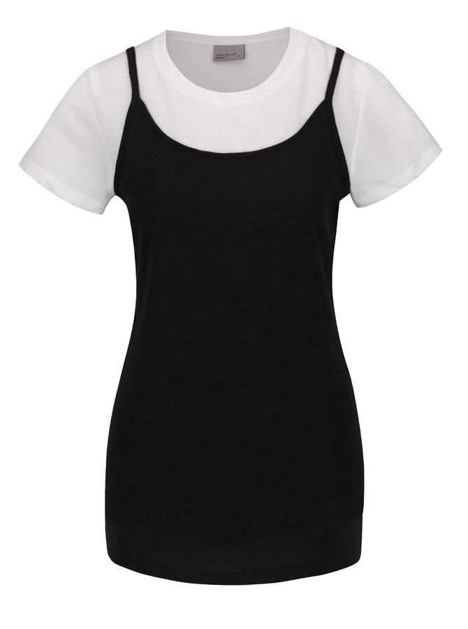 Tricou alb & negru VERO MODA Noor cu aspect 2 în 1