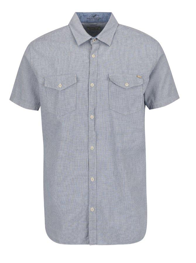 Modro-šedá vzorovaná košile s krátkými rukávy Jack & Jones Banes