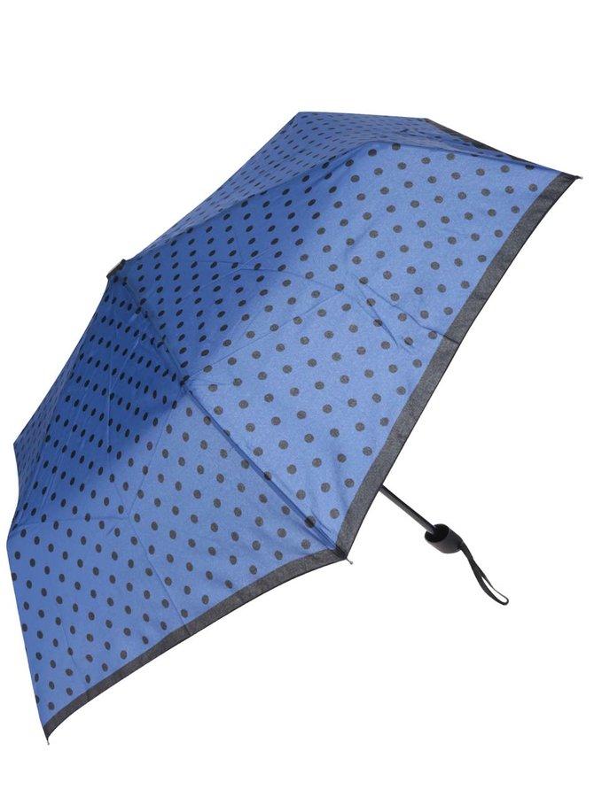 Modrý dámský puntíkovaný deštník Derby