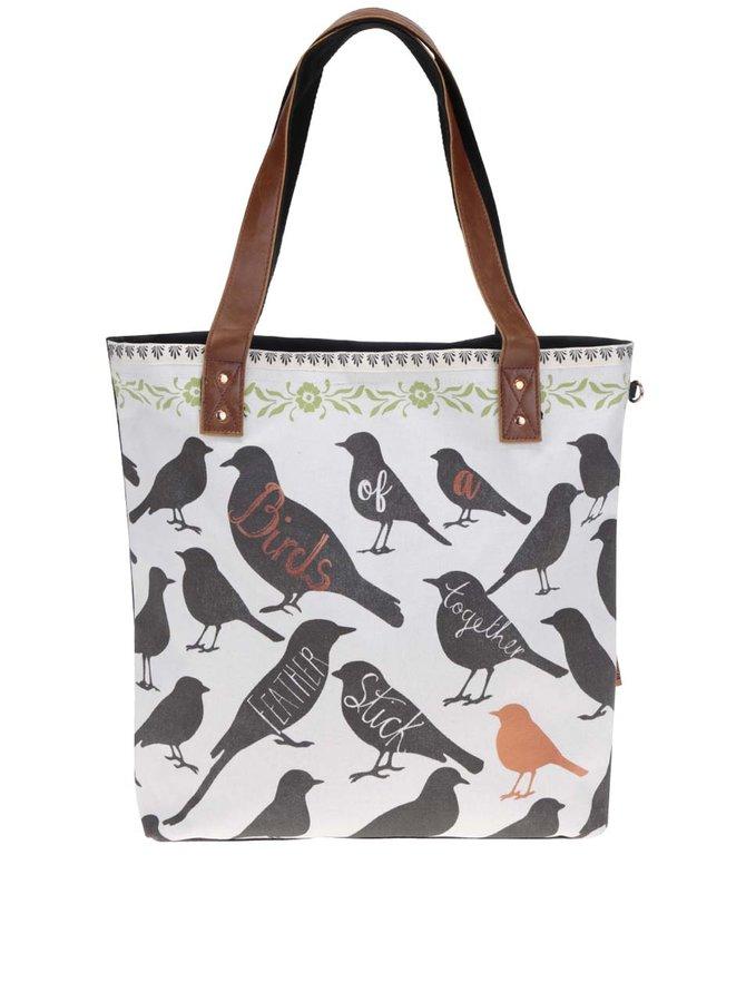 Krémový shopper s motivem ptáků Disaster Penny