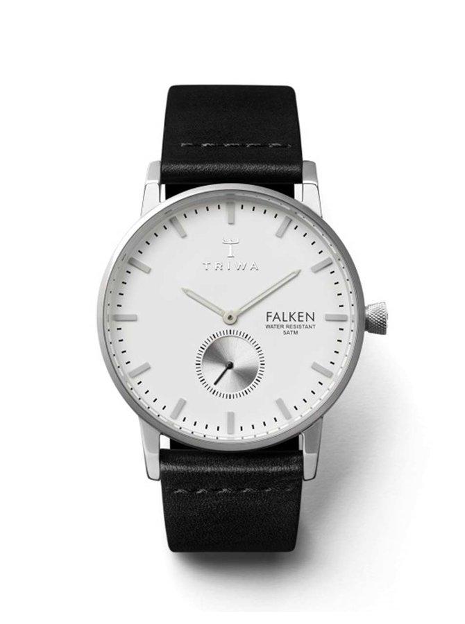 Unisex hodinky ve stříbrné barvě s černým koženým páskem TRIWA Ivory Falken