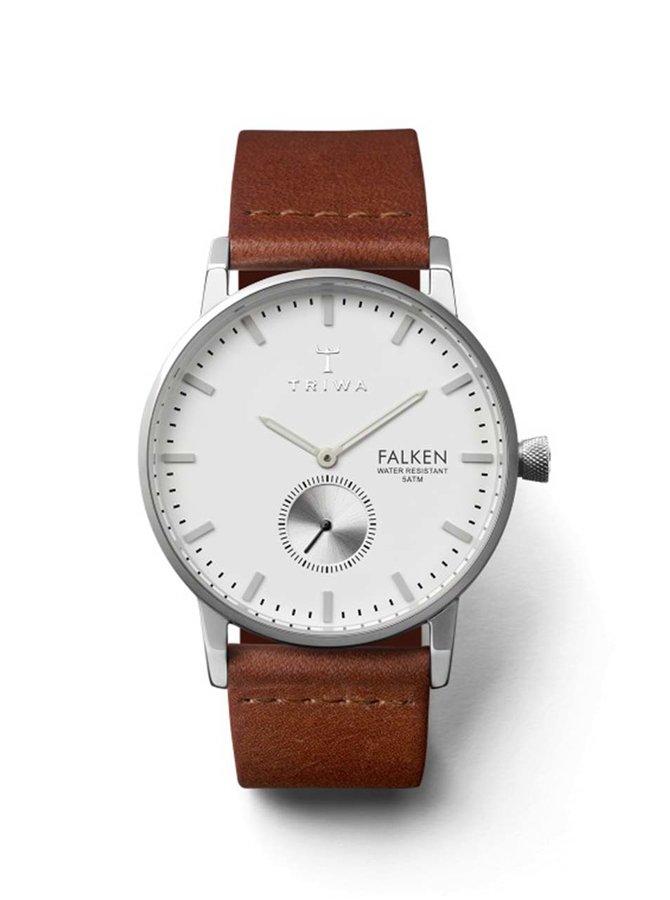 Unisex hodinky ve stříbrné barvě s hnědým koženým páskem TRIWA Ivory Falken