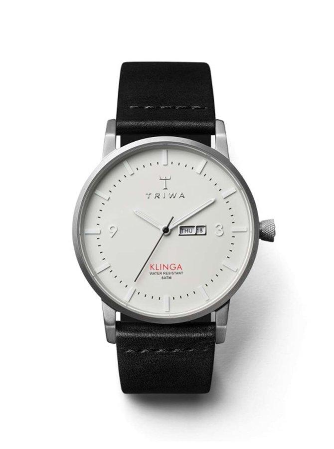 Unisex hodinky ve stříbrné barvě s černým koženým páskem TRIWA Dawn Klinga