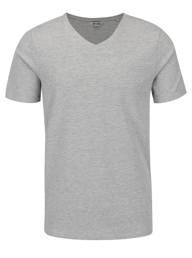 Šedé žíhané basic triko ONLY & SONS Basic
