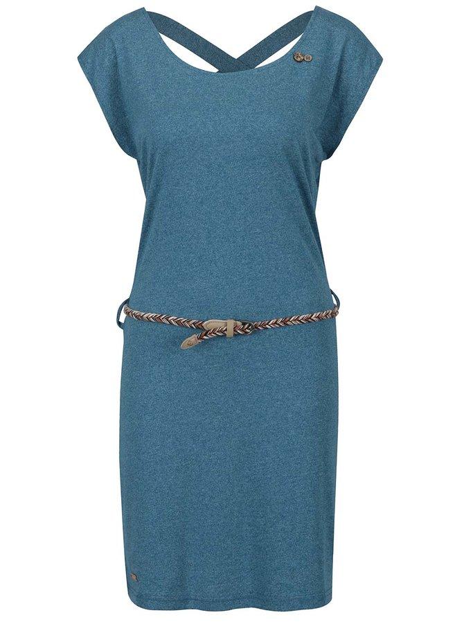 Modré žíhané šaty s pásky na zádech Ragwear Sofia