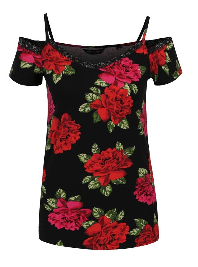 Černé květované tričko s lodičkovým výstřihem Dorothy Perkins